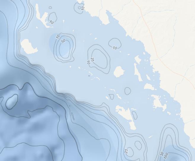 Bathumetry Contours NOAA adeptalgorithms